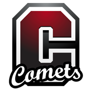 """Large letter """"C"""" in the school colors of red, silver, and white, with the caption """"comets"""" written across it"""