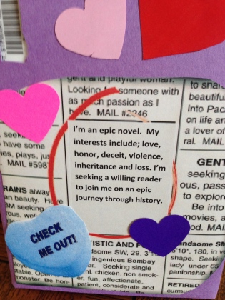 Picture of a book wrapped in newsprint with fake dating advertisement circled.
